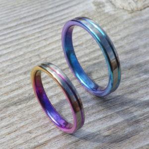 ジルコニウムの陽極酸化を美しいデザインに・ジルコニウムの結婚指輪 Zirconium Rings