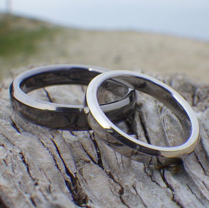【パラジウムフリー】タンタルとプラチナ コントラストが美しいペアリング Tantalum & Platinum Rings