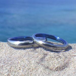 メールオーダーでも希望通り!ハフニウムの結婚指輪 Hafnium Rings