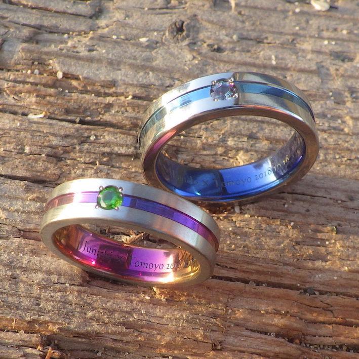 お持ち込みのアレキサンドライトとデマントイドガーネットで結婚指輪オーダーメイド Zirconium Rings