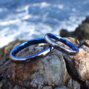 幸せのサムシングブルー・ハフニウムの結婚指輪 Hafnium Rings