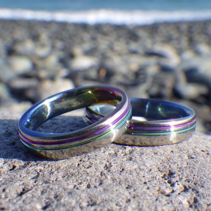 ジルコニウムの多色刷り発色を施した結婚指輪 Zirconium Rings