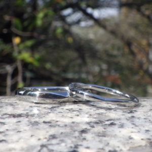 ツバキの花弁をデザインのイメージに・ハフニウムの結婚指輪 Hafnium Rings