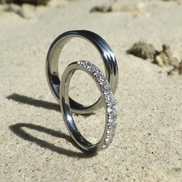 金属アレルギーの彼女にサプライズのプレゼント・ハフニウムのエタニティリング Hafnium Rings