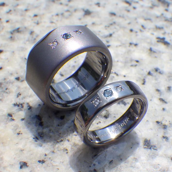 アクアマリンとダイヤモンドが輝くタンタルの結婚指輪 Tantalum Rings