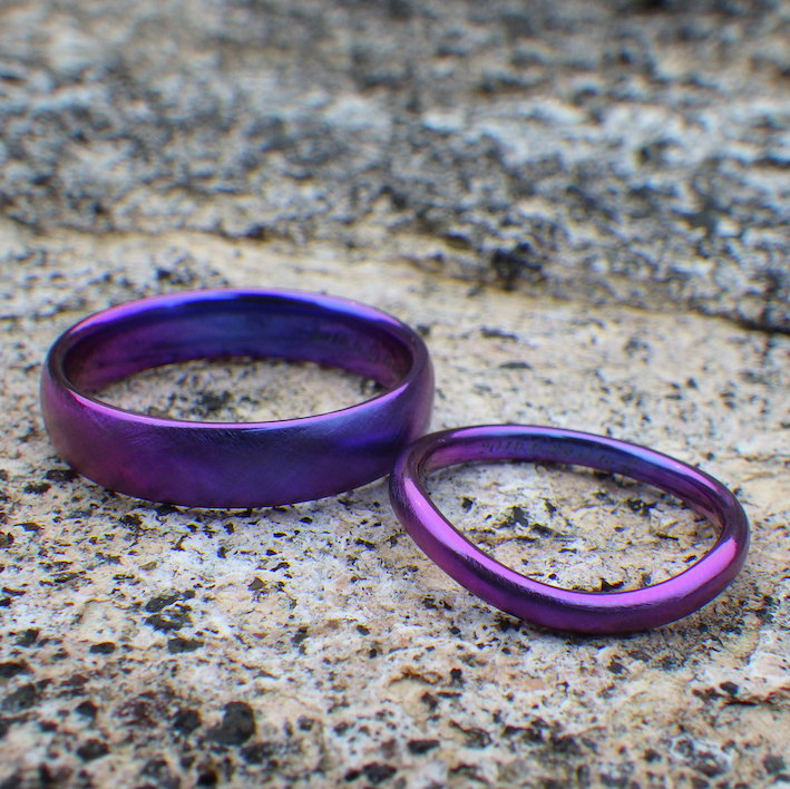 1つのジルコニウム材料から結婚指輪と婚約指輪の3つのリングを制作 Zirconium Rings