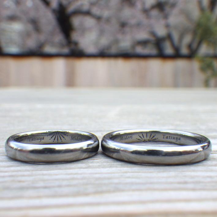 どこに行くにもずっと着けたままで大丈夫!ハフニウムの結婚指輪 Hafnium Rings