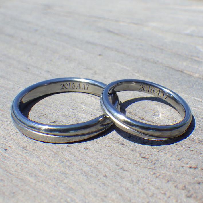 周回軌道のデザイン・ハフニウムの結婚指輪 Hafnium Rings
