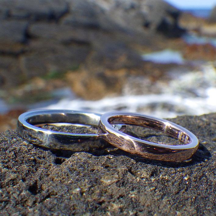 色合わせが美しい!ピンクゴールドとハフニウムの結婚指輪 Pink Gold & Hafnium Rings