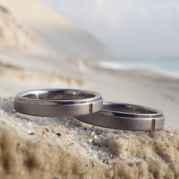 カナダからご注文いただいてお作りしたタンタルの結婚指輪 Tantalum Rings