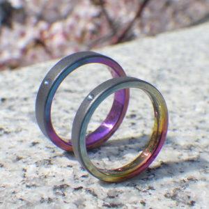 多色刷りの色鮮やかな発色・ジルコニウムの結婚指輪 Zirconium Rings