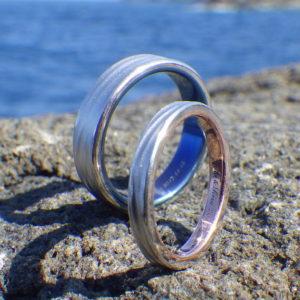 異種金属を接合した、美しい色合わせの結婚指輪 Platinum Rings