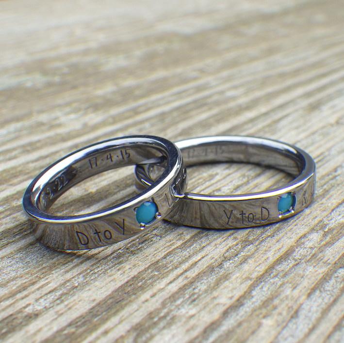ターコイズとタンタルの色合わせが美しい結婚指輪 Tantalum Rings