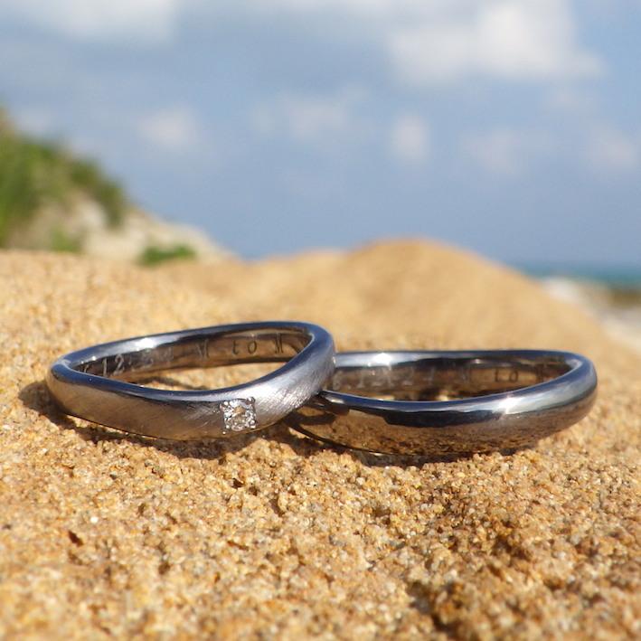 ダイヤモンドとタンタルの美しい組み合わせ・タンタルの結婚指輪 Tantalum Rings
