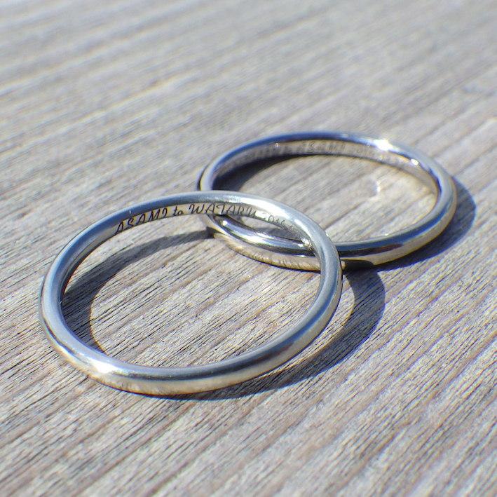 タンタルの男性リングとハフニウムの女性リングのペアリング Tantalum & Hafnium Rings