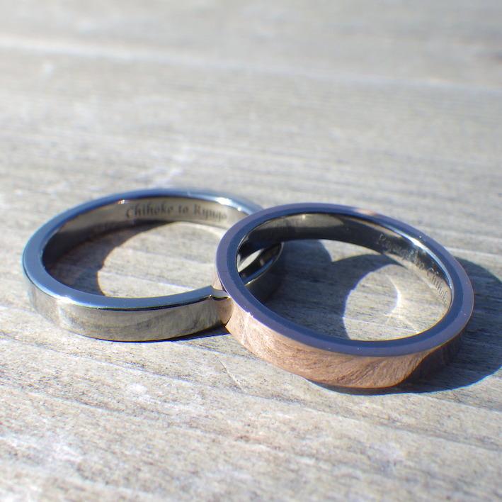 ピンクゴールドとハフニウムを組み合わせた結婚指輪 Pink Gold & Hafnium Rings