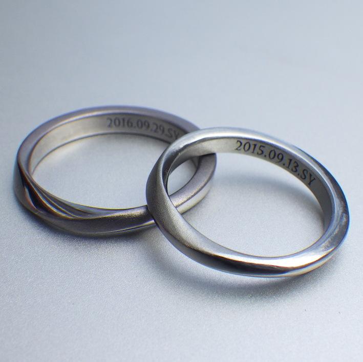美しいコントラスト・タンタルとハフニウムの結婚指輪 Tantalum Ring & Hafnium Ring