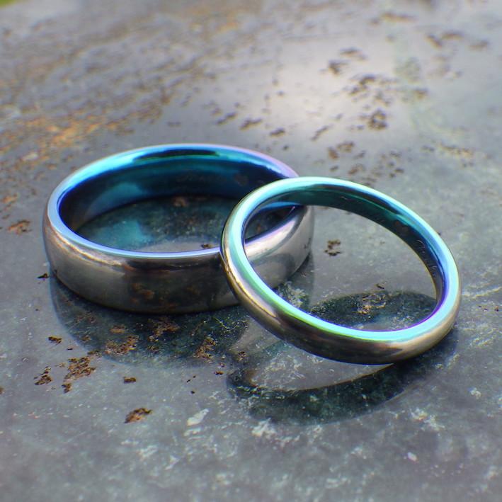 ニューヨークからご注文いただいたジルコニウムの結婚指輪 Zirconium Rings