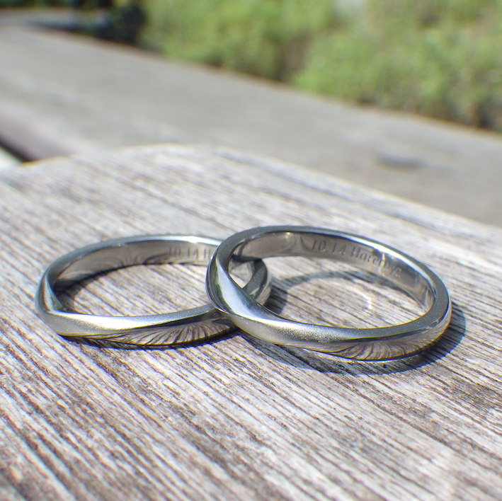 遠隔でも、きめ細やかなオーダーメイド・ハフニウムの結婚指輪 Hafnium Rings