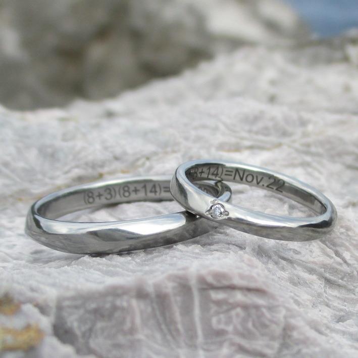 優美なねじりのかたち・ハフニウムの結婚指輪 Hafnium Rings