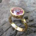 18金の指輪をリメイク!ピンクトルマリンのリング