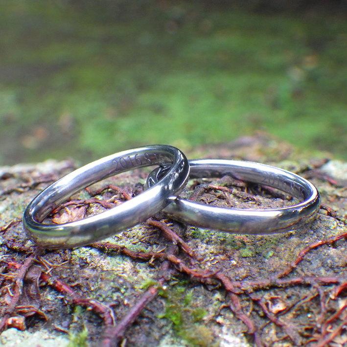ジャストフィットのオーダーメイド・ハフニウムの結婚指輪 Hafnium Rings