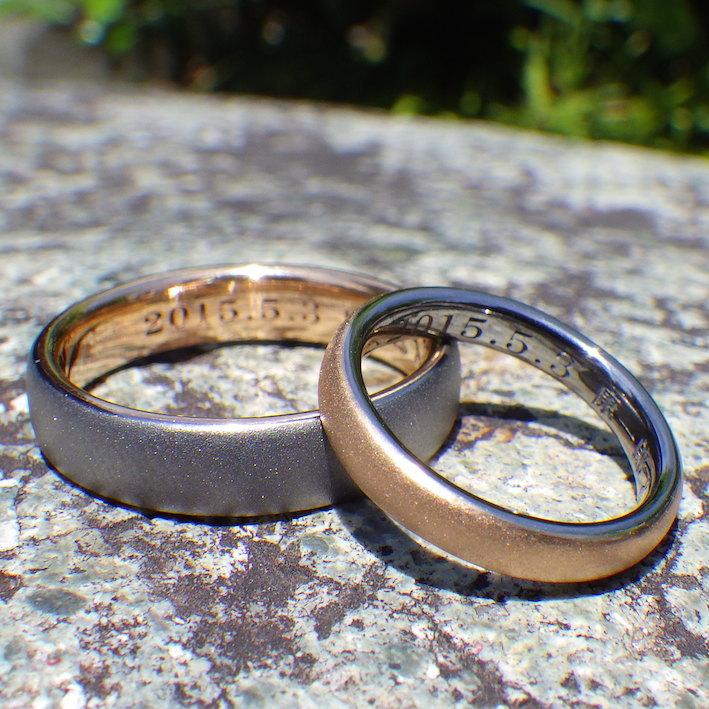 タンタルとオレンジゴールドの美しい色合わせ・結婚指輪 Tantalum & Orange Gold Rings