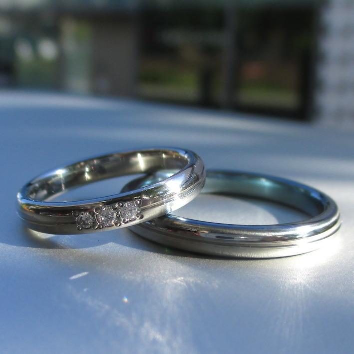 ハフニウムとジルコニウムを組み合わせた結婚指輪 Hafnium & Zirconium Rings