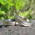 金属アレルギーにならない木目金(もくめがね)の結婚指輪 22K Yellow Gold × Platinum900-Iridium100