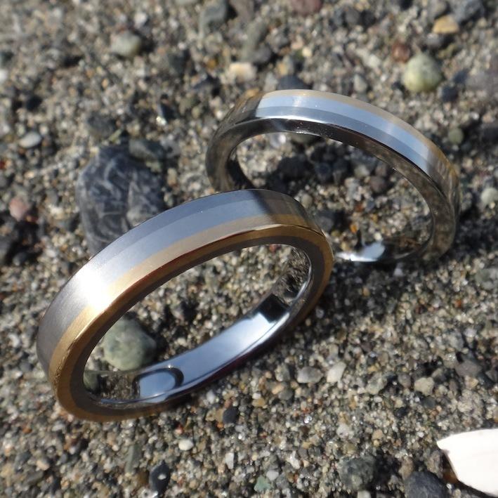 3色が美しい!異種金属を接合したペアリング 3 Colors Rings