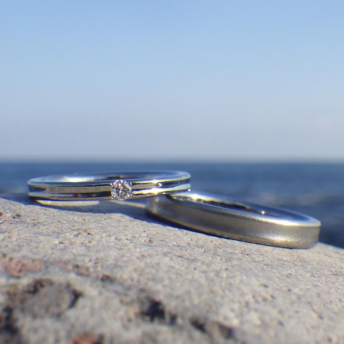 マレーシアからご注文いただいたハフニウムの結婚指輪