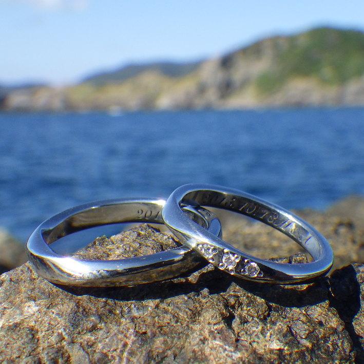 ハフニウムにダイヤモンドの石留めが美しい結婚指輪 Hafnium Rings