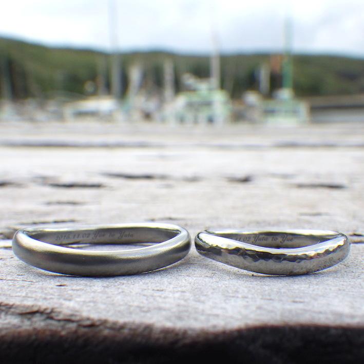 金属アレルギーの彼女のためのハフニウムの結婚指輪 Hafnium Rings