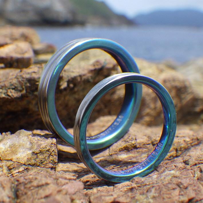 南の島の海の青と波の結婚指輪 Zirconium Rings