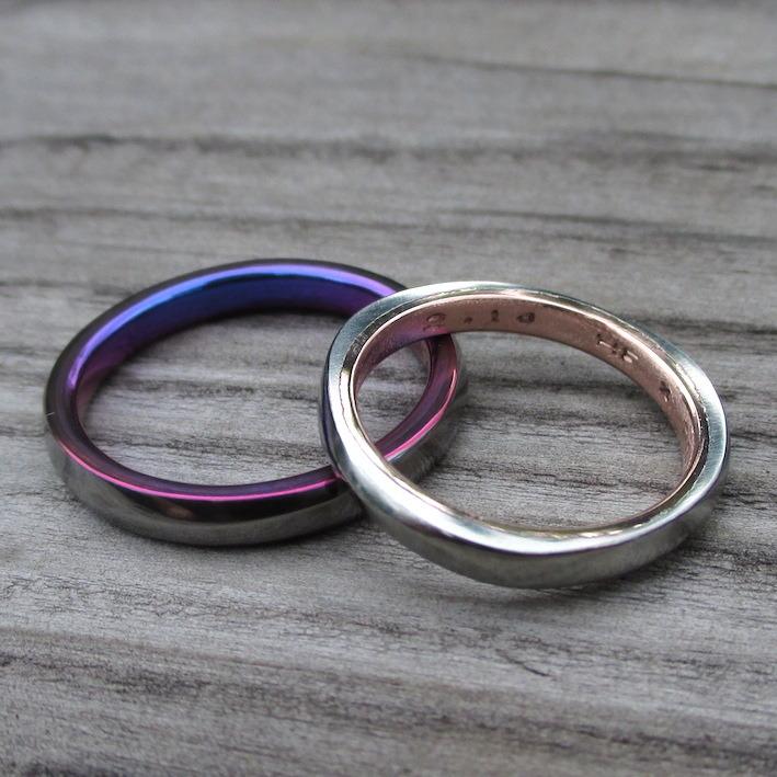 ハフニウム×ピンクゴールド、タンタル×ジルコニウムの結婚指輪 Hafnium×Pinkgold,Tantalum×Zirconium Rings