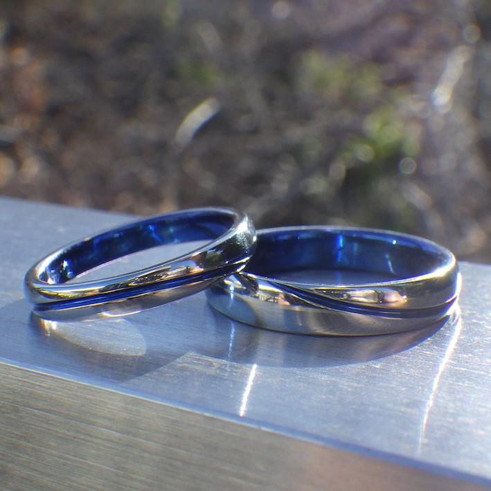 周回軌道のブルーライン・ハフニウムの結婚指輪 Hafnium Rings