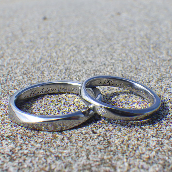 ダイヤモンドの輝きが美しい!ハフニウムの結婚指輪 Hafnium Rings