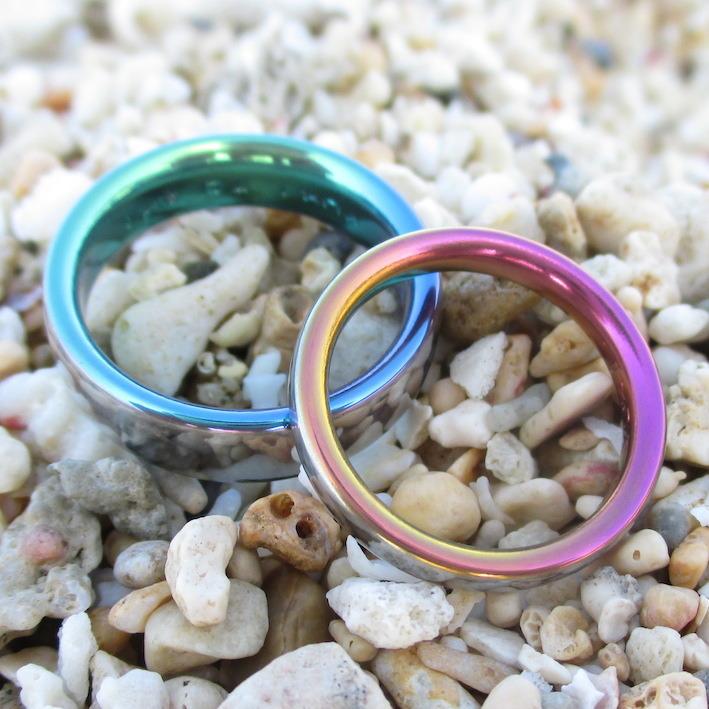 アトピーでも安心!カラフルなジルコニウムの結婚指輪 Zirconium Rings