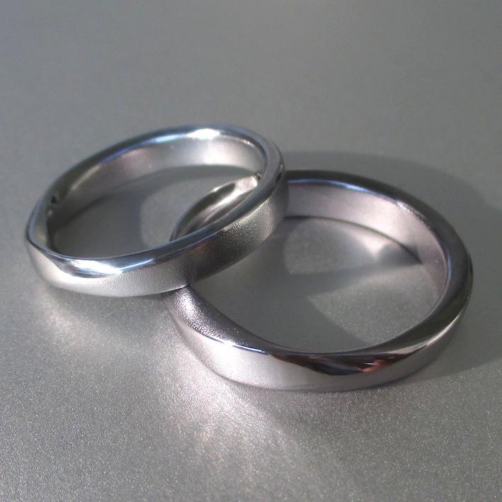 メビウスの輪・タンタルとハフニウムのペアリング Tantalum & Hafnium Rings