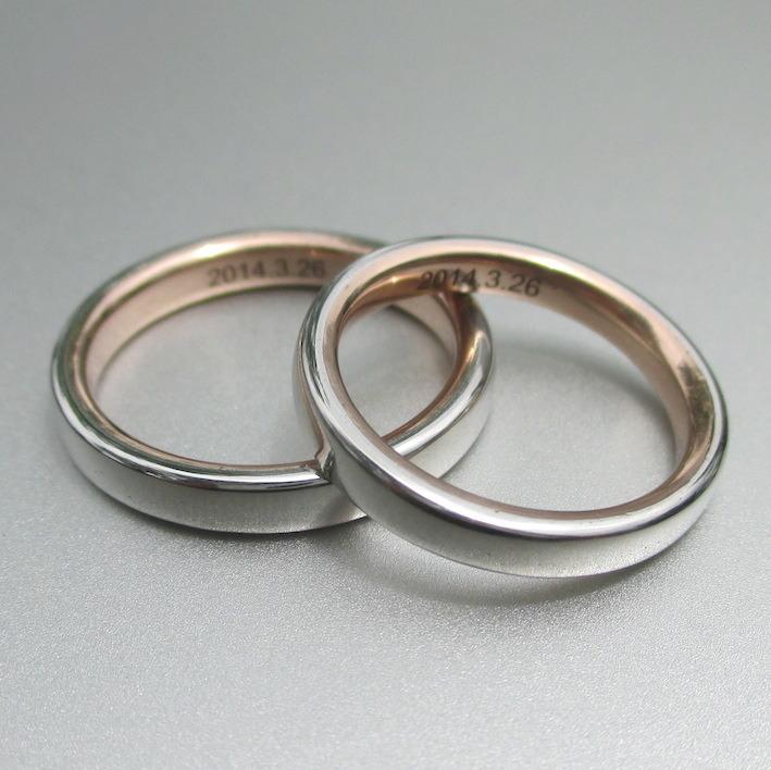 新開発!イリジウムとピンクゴールドを組み合わせた結婚指輪 Iridium & Pinkgold Rings