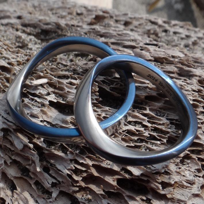 ジルコニウムのメビウスの輪 結婚指輪 Zirconium Rings