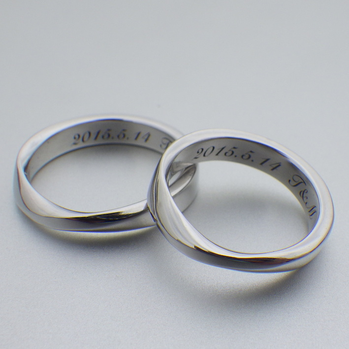 永遠を象徴するメビウスの輪・イリジウムの結婚指輪