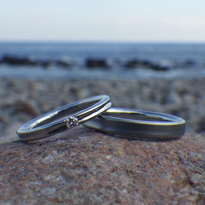 マレーシアからご注文いただいたハフニウムの結婚指輪 Hafnium Rings