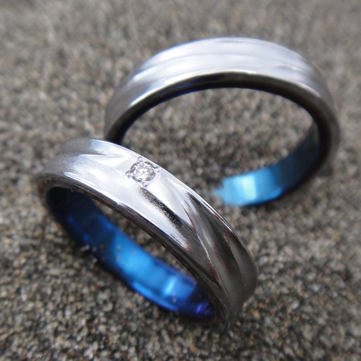 バナジウムのターゲット材から作った結婚指輪 Vanadium Rings