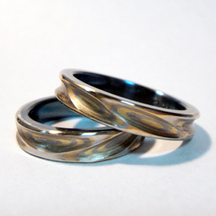 木目金(もくめがね)×ジルコニウムのペアリング Mokumegane Rings