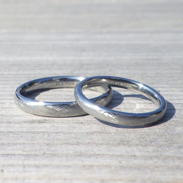 肌が弱い方でも安心の着け心地!ハフニウムの結婚指輪 Hafnium Rings