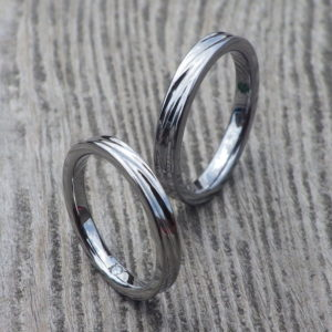 遠方からメールオーダーでご理想通り!タンタルとハフニウムの結婚指輪 Tantalum & Hafnium Rings