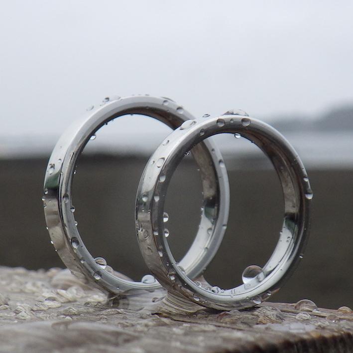 イリジウムとハフニウムを組み合わせた結婚指輪