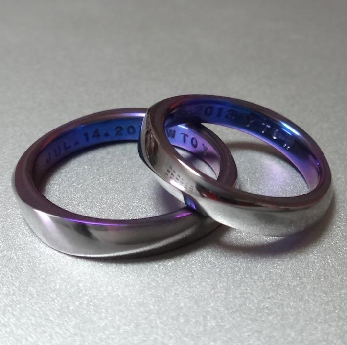 タンタル×ジルコニウムの絶妙の色合わせの結婚指輪 Tantalum/Zirconium Combination Rings
