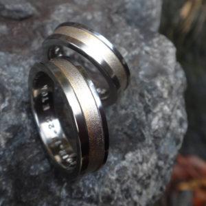 金属アレルギー対応の木目金の指輪の特殊な作り方